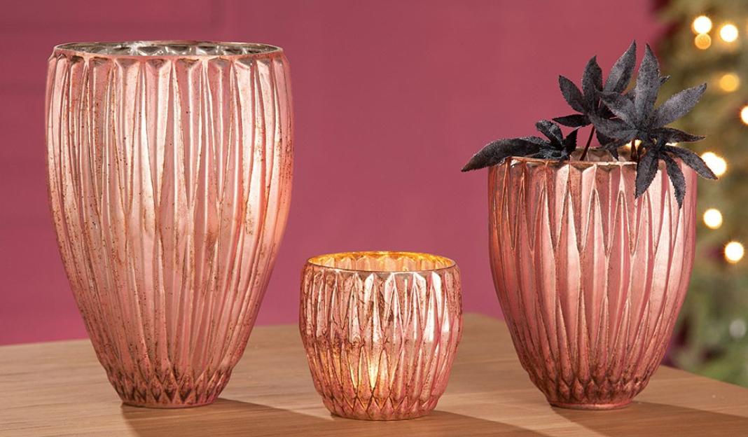 """Glas-Windlicht""""Rosy"""""""