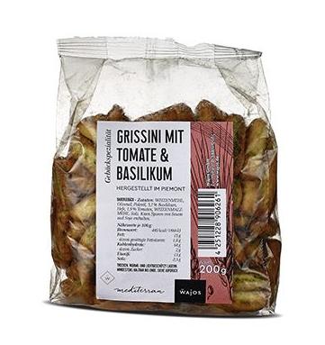 Mini-Grissini mit Tomate und Basilikum