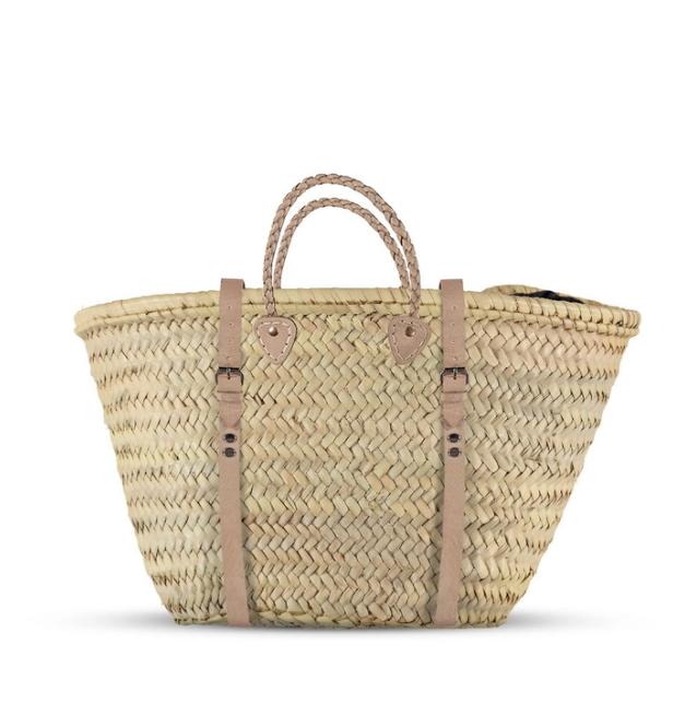 Stroh-Rucksack mit langen Lederriemen
